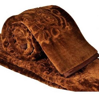 The Intellect Bazaar Floral Mink 1 Double Blanket (80x86 Inches), Brown