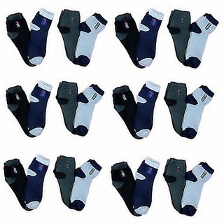 Hitashi Men's Socks Combo Ankle Lenth (Pair of 12)