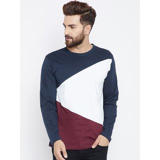 PAUSE Multicolor Solid Round Neck Slim Fit Full Sleeve Men's T-Shirt