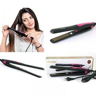 Kemei KM-328 Hair Straightener (Black, Pink)