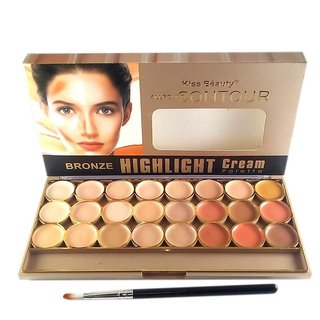 Roll over image to zoom in Kiss Beauty Kiss Beauty 24 Colors Allround Contour Concealer Bronze Highlighter Palette 956