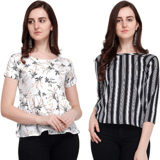 Swaron White and Black Printed Crepe Top Combo Pack of 2
