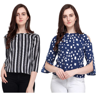 Swaron Black and White Printed Crepe Top Combo Pack of 2