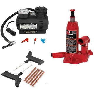 2 Ton Hydraulic Car Jack + Car  Compressor + Tyre Punture Repair Kit Combo