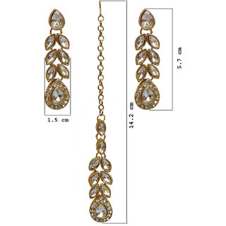 Lucky Jewellery Fetching White Color Stone Gold Plating Partywear Necklace  Set For Girls Women