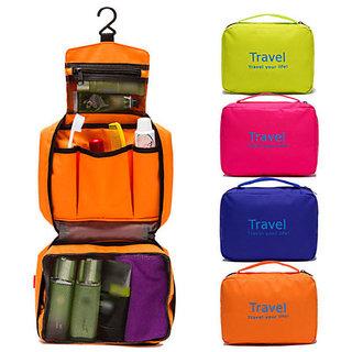 Unique Cartz Waterproof Women Toiletry Cosmetic Makeup Storage Bag Travel Casual Hanging Bag Organizer (Random color)