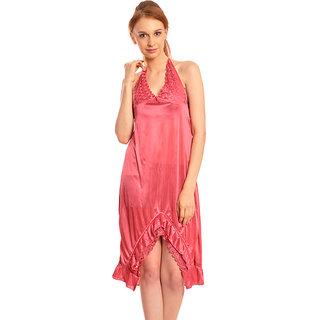 Klamotten Pink Satin Plain Babydolls Kn102