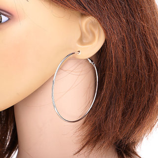 f7fb73688ab12 65mm Silver Color Smooth Big Large Round Hoop Earrings Fashion Style Latest  Trends Celebrity Inspired