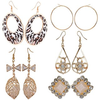 9blings Combo of 5 Classy Rose Gold Tone Crystal Cz Printed Long Dangler and Stud Earrings