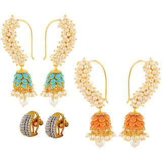 Aabhu Jewellery Gold Plated Popular Fancy Party Wear Classic Combo of 3 Pairs Earrings For Women And Girl