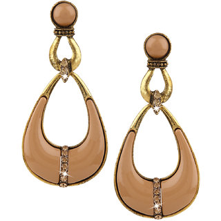 Jazz Brown Gold Plated Drop Earrings for Women