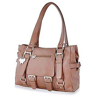Butterflies Tan Plain Handbag