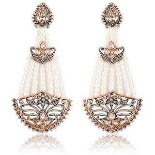 Fascraft Gold Plated Rajasthani Designer Wear Diya Earrings with Kundan and Pearls