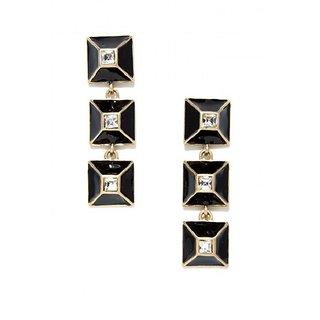 OOMPH's Gold & Black Crystal Fashion Jewellery Drop Earrings for Women, Girls & Ladies