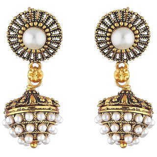 Aabhu Oxidised Plated Handmade Antique Pearl Studded Jhumka Jhumki Earrings Jewellery For Girl And Women
