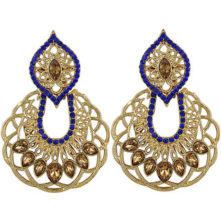 Jewels Guru Exclusive Golden Blue Earrings