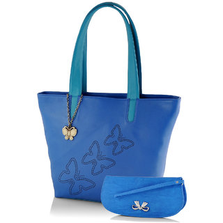 Butterflies  Blue Casual Self Design  Handbag