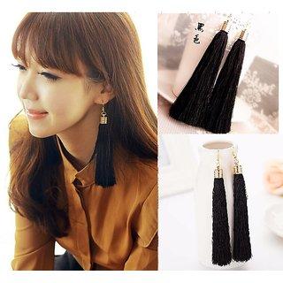 Black Cotton Fringe Long Big Fashion Tassels Drop Dangler Earrings Jewelry...