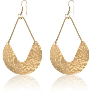 Fascraft Fusion Brass Engrafted Hoop Earrings with Vintage Gold Finishing