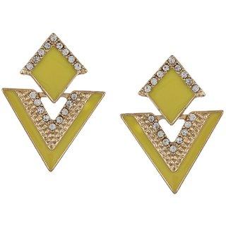 Fayon Trendy Costume Yellow Triangle Enamel Stud Earrings