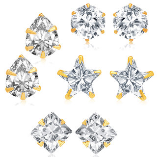 Sukkhi Fancy Gold Plated CZ Set of 4 Pair Earring Combo For Women