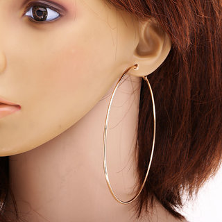 Fashion Women Girls Alloy Smooth Big Large Round Hoop Earrings 85mm Golden Color