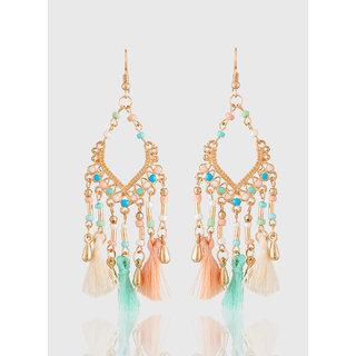 Jazz Multi color Tassel Designer Gold Plated Party wear Dangler Hook Earrings for Girls Ladies