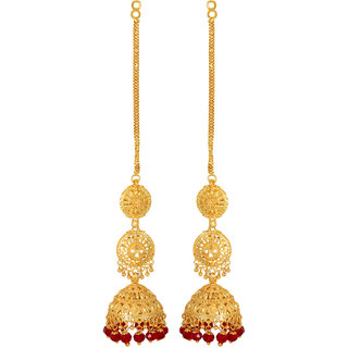 Gold Plated Red Beaded Jhumki Long Earrings by GoldNera-GoldNerajhumki2