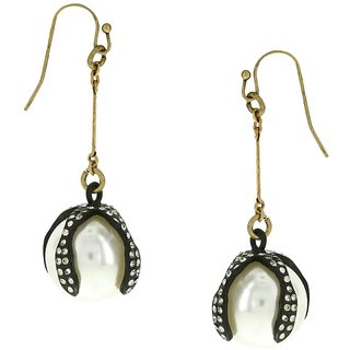OOMPH's Gold, Black & White Crystal & Pearl Fashion Jewellery Drop Earrings for Women, Girls & Ladies