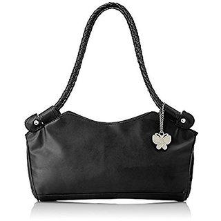 Butterflies Black Plain Handbag