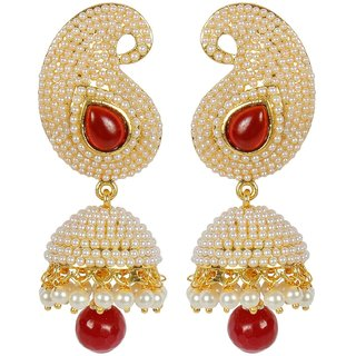 Aabhu Bollywood Inspired Pearl Polki Stylish Fancy Party Wear Traditional Jhumki Jhumka Earrings Jewellery For Girls And Women