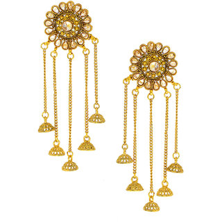 Anuradha Art Golden Tone Styled With Jhmki/Jhumka Wonderful Traditional Earrings For Women/Girls