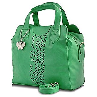 Butterflies Green Plain Handbag