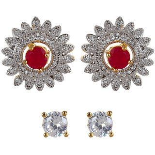 Fabula's Two-in-One Interchangable Gold, White & Red Maroon Pink Zircon American Diamond AD CZ Crystal Rhodium Plated Traditional Ethnic Jewellery Ear Stud Earrings for Women, Girls & Ladies