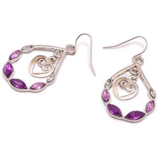 Popmode Purple Stone Oval Drop Earring