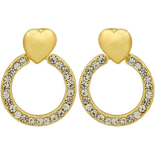 Maayra Sparkling Valentine Heart Earrings Golden Dangler Drop Dailywear Jewellery