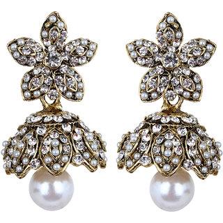 Fabula's Gold & White Zircon American Diamond AD CZ  & Pearl Traditional Ethnic Jewellery Jhumki Drop Earrings for Women, Girls & Ladies