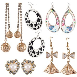 9blings Combo of 5 Stylish Rose Gold and Silver Plated Crystal Cz Printed Long Dangler and Stud Earrings