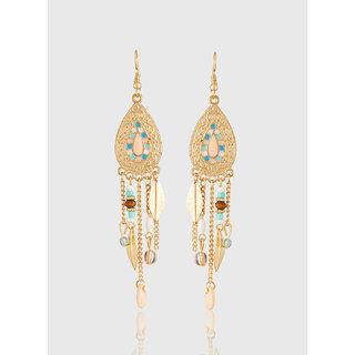 Jazz  Designer Tassel Leaf with Beaded Gold Plated Dangler Fashion Hook Long Earrings for Girls Ladies
