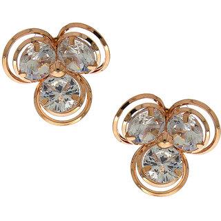 Anuradha Art Rose Gold Finish Designer Wonderful White Colour Stone Studs Earrings For Women/Girls