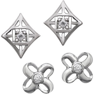 Om Jewells Combo of 2 Stud Earrings with Crystal Stones CO1000015