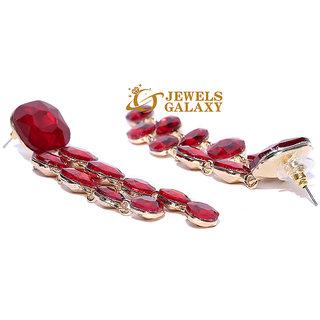 5e15bf0fd468 Jewels Galaxy Elegant Geometrical Design Crystal Gold Plated Swanky Red  Long Drop Earrings For Women/Girls