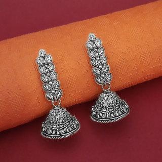 Meia Oxidised Plated Leaf Design Jhumki Earrings