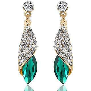 Meia Gold Plated Green Alloy Dangle Earrings For Women