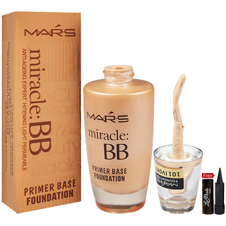 Mars Miracle BB Primer Base Foundation 60ml With Free LaPerla Kajal