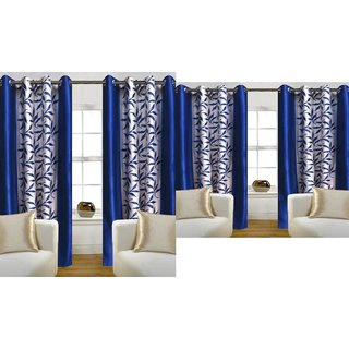 iLiv Combo Of 2 Door  2 Window Curtains - bluekolavri7ft5ft