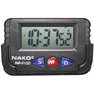 Nako NA-613D Car (Black) Clock , Table Clock , Stop watch, Multi purpose
