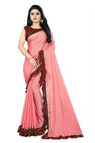 Anjaneya Sarees Peach Georgette Ruffle Saree with Printed Blouse