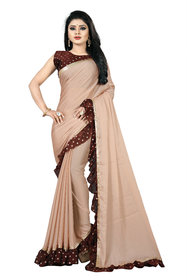 Anjaneya Sarees Georgette Ruffle Saree with Printed Blouse