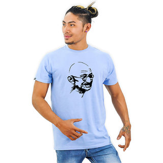 HEYUZE Cotton Half Sleeve Male Men Round Neck Printed Blue T Shirt with Mahatma Gandhi